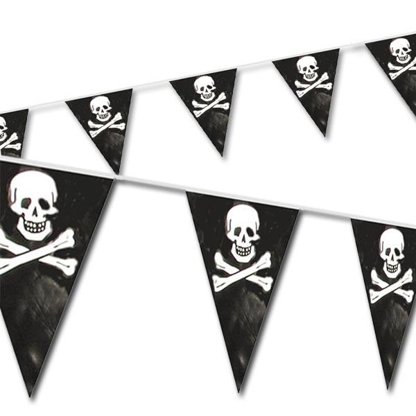 Totenkopf-Wimpelkette schwarz 10m als Piratenparty Deko, aus Folie