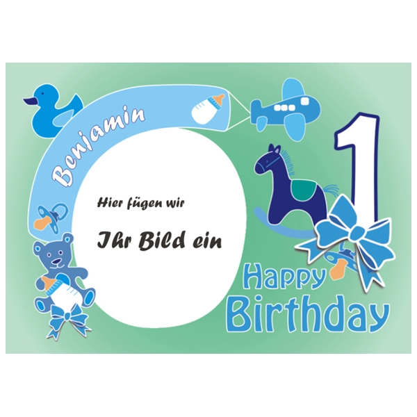 Tortenaufleger 1. Geburtstag Jungs +Foto +Name +Alter, eckig, ZA4