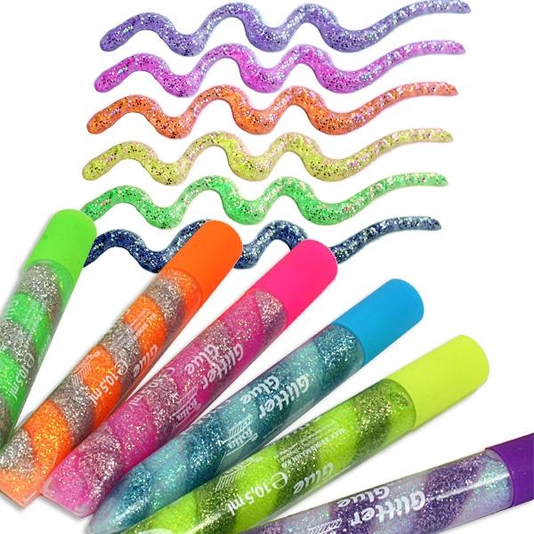 Glitter-Glue Spiralen Neon, 6er Pack, mit eingedrehten Farben, für tolle Bastelideen