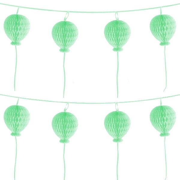 Ballon Party Girlande aus Wabenbällen, mintgrün, 1,8m, pastellfarben
