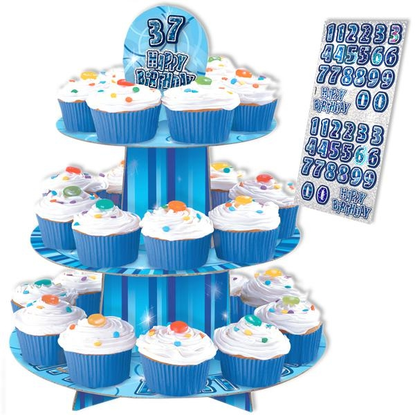 Happy Birthday – Muffin-Etagere in knallig Blau, 3 Ebenen