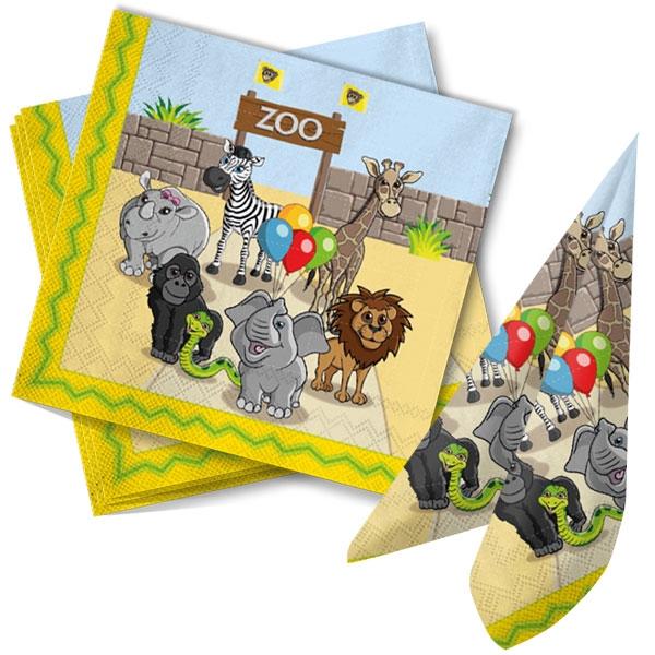 Zoo Servietten, 20er Pck, 33x33cm, 3-lagig