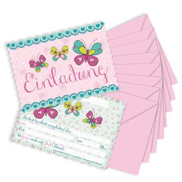 Schmetterling Einladungen, 8 Stk. mit Textfeldern und rosa Umschlägen