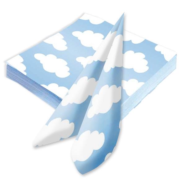 Wölkchen Servietten in Hellblau, 20 Papierservietten zum Träumen