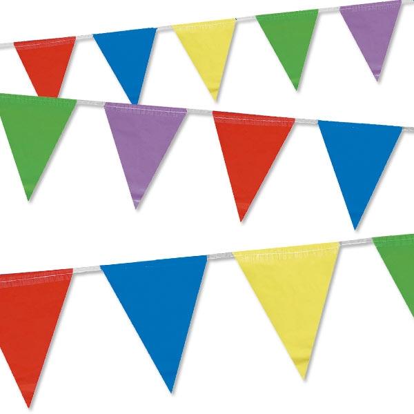 Wimpelkette bunt aus Folie für alle Feiern, drinnen oder draußen, 4 m