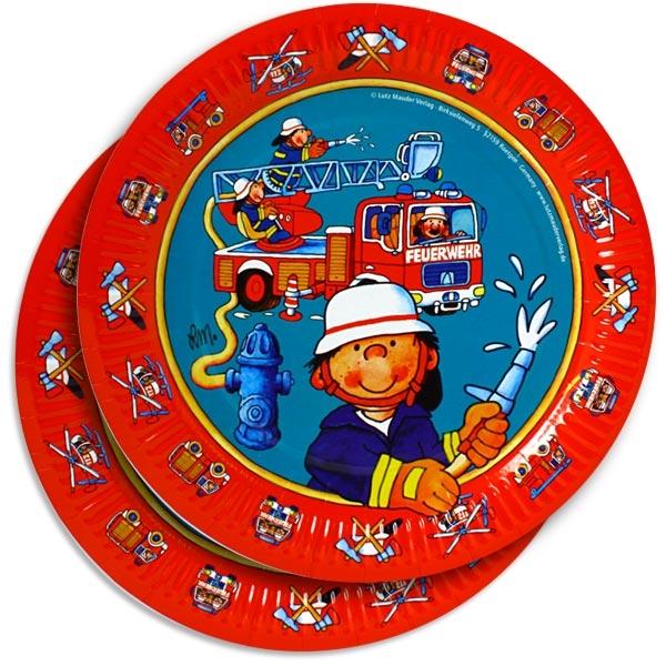Feuerwehr Party-Teller,kleiner Feuerwehrmann im Einsatz, 8er, 23 cm