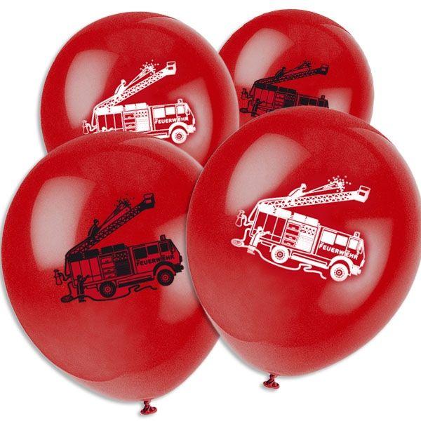 Feuerwehr Luftballons 8 Stk., 35 cm, Latexballons mit Feuerwehrauto