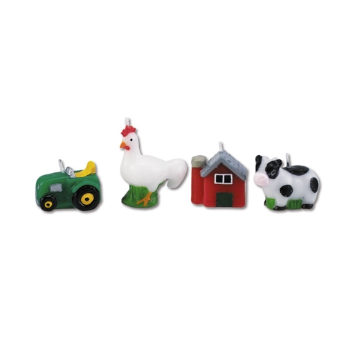 Tortenkerzen Bauernhof-Tiere im 4er-Set, ca. 4cm, Traktor, Kuh,Huhn...