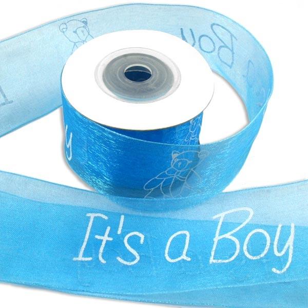 Its a Boy - Organzaband, 10 m lang, schimmernd blau, als Deko- und Geschenkband