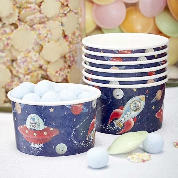 8 Weltraum Eisschälchen, auch für Bonbons oder Popcorn