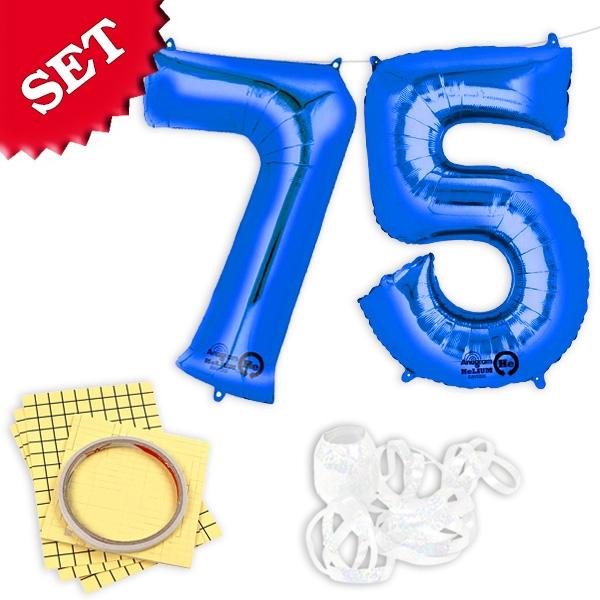 "XXL Folieballons Zahl ""75"", blau"