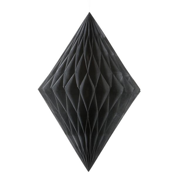 Wabendiamant in Schwarz, hübsche Wabendeko für alle Partys, 35,5cm