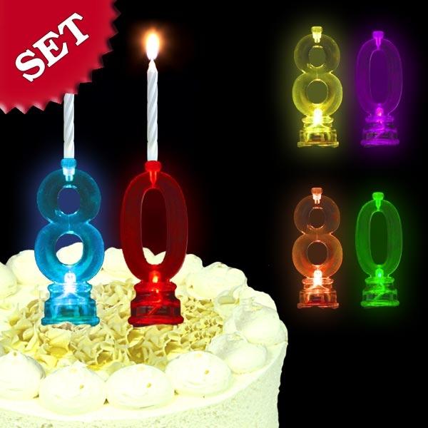 Blinkende Geburtstagszahl 80 für Tortendeko zum 80. Geburtstag