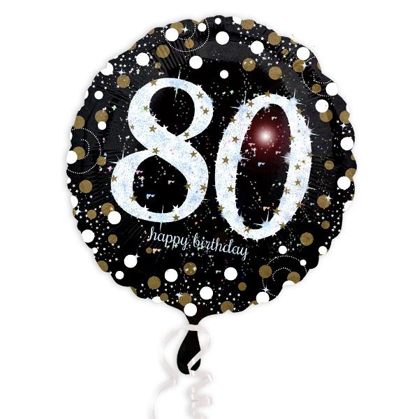 Glitzer-Folieballon zum runden 80. Geburtstag/Jubiläum, 1 Stück, 35cm