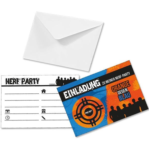 NERF Einladungskarten, 6er, inkl. Umschläge, 15,8cm