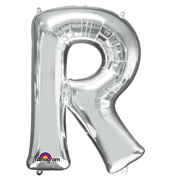 Mini Folienballon als Buchstabe R in silberner Farbe mit Ösen, 1 Stück