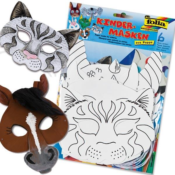 Kindermasken zum Bemalen und Bekleben, 6 Stück, versch. Tiermotive für Mottoparty Zoo