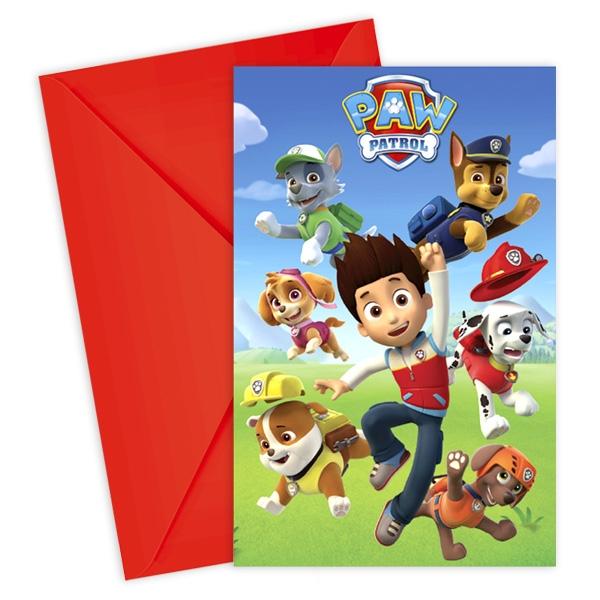Paw Patrol Einladungskarten, 6er Pck + Umschläge