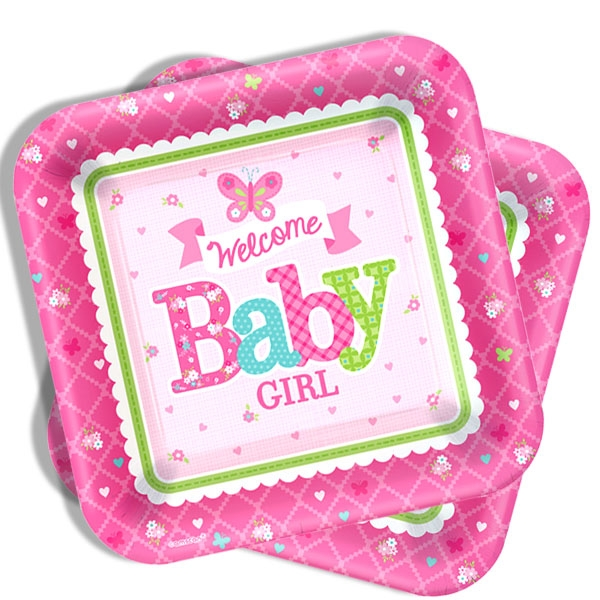 Welcome Baby Girl, eckige Teller, 8er Pck, 26cm, Partyteller Baby Shower Mädchen