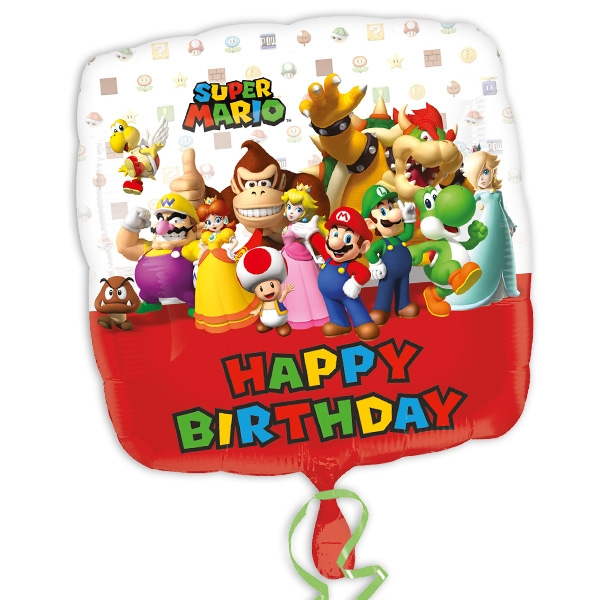 "Quadratischer Folienballon Super Mario ""Happy Birthday"", 32cm x 32cm"
