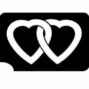 Verschlungene Herzen Tattooschablone, Tattooidee Valentinstag 7,5x5cm