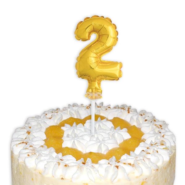 """Mini-Ballon Tortendeko, Zahl """"2"""" für die Torte zum 2. Kindergeburtstag"""