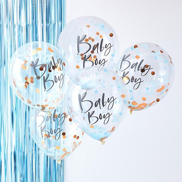 "Babyparty ""Baby Boy"" Konfetti Ballons, 5 Stk, Ø 30cm, Twinkle Twinkle"