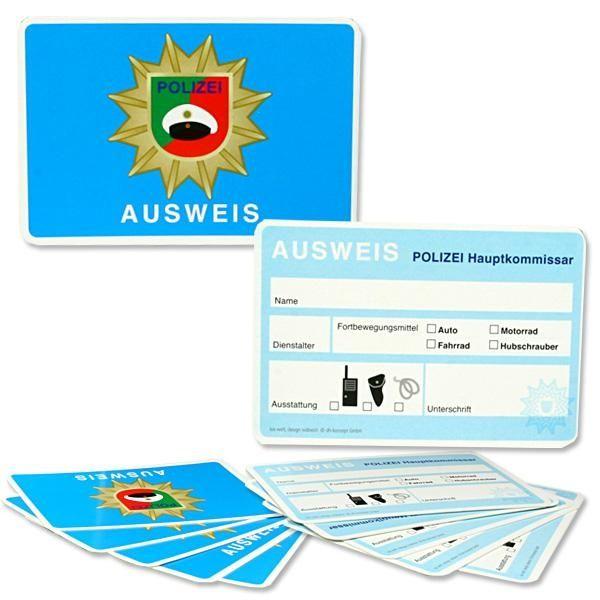Polizei-Dienstausweise im 6er Pack, Beschriftung in deutscher Sprache
