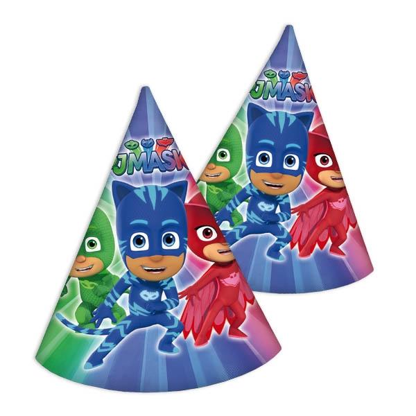 Pyjamahelden Partyhütchen für PJ Masks Geburtstag, 6 Stk., 16cm