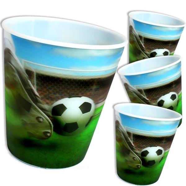 3D Becher für Fußball-Fans zum Verschenken, 4 Stück, Plastik, 250 ml