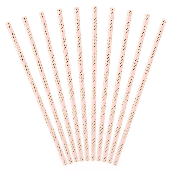 10 Papiertrinkhalme, rosa-gold gestreift, 19,5cm