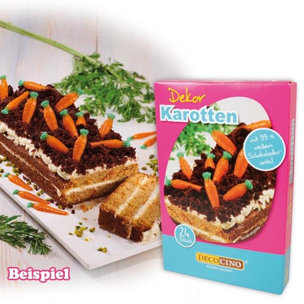 Essbare Schoko-Dekore, Karotten, 24er Set