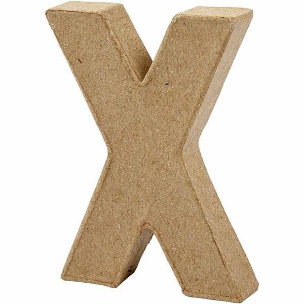X Buchstabe, handgearbeitet aus Pappe, zum Bemalen/Bekleben, ca. 10 cm