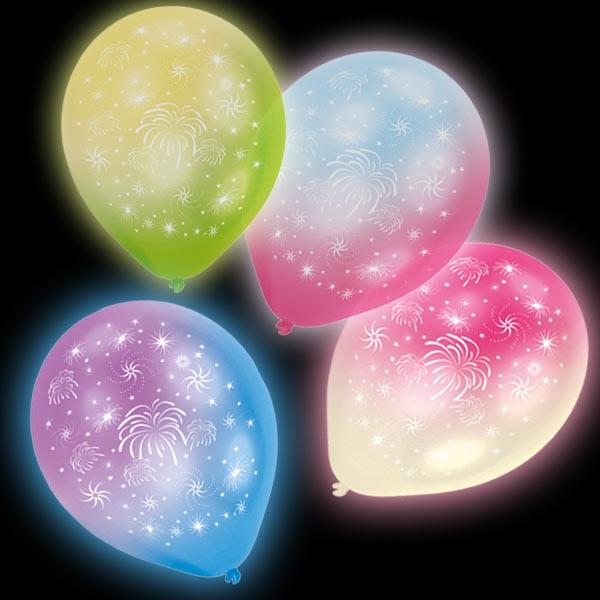 LED Luftballons Feuerwerk-Motiv, 4 Stk, 24h, 27,5cm
