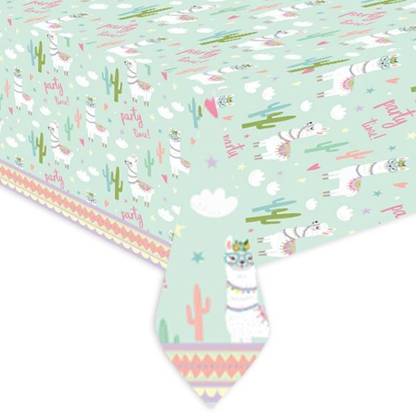 Lama Partytischdecke aus Folie mit Kakteen, 120 x 180cm, 1 Stück