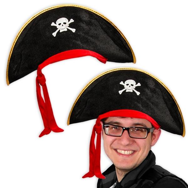 Piratenhut für Erwachsene, Zubehör für Piratenkostüm Karneval, 1 Stück