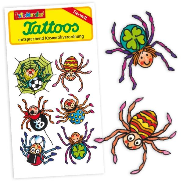 Spinnentattoos, witzige Klebetattoos für Kinder, 1 Karte Einmaltattoos