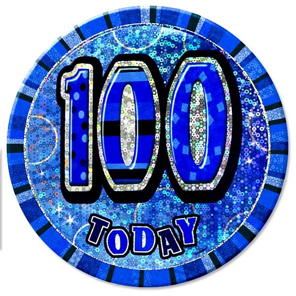 Zahl 100 Glitzer-Button, 15cm, zum Anstecken in Blau