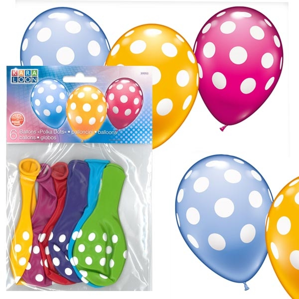 Latexballons im Punkte-Design, 6er Pack, heliumgeeignet, bunt gemischt