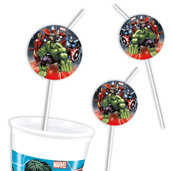 "6 Trinkhalme ""Avengers"" Plastiktrinkhalme mit Avengers-Motiv"