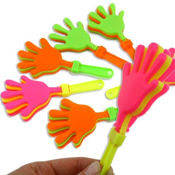 Klapperhände im 6er Pack, 12x6 cm, für den ultimativen Partyspaß