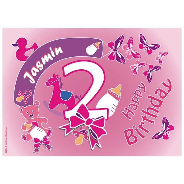 Tortenauflage 2. Geburtstag Mädchen +Name +Alter, eckig, ZA4