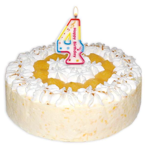 "Zahlenkerze ""4"" mit Happy-Birthday-Aufdruck"