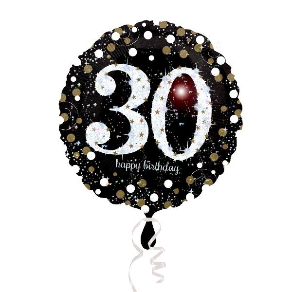 Glitzer-Folieballon, 35cm, 1 Stück, zum 30. Geburtstag als Geschenk