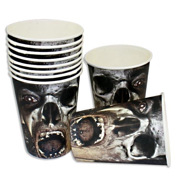 Zombie Becher im 10er Pack, 200ml, Partybecher für Halloweenfeiern