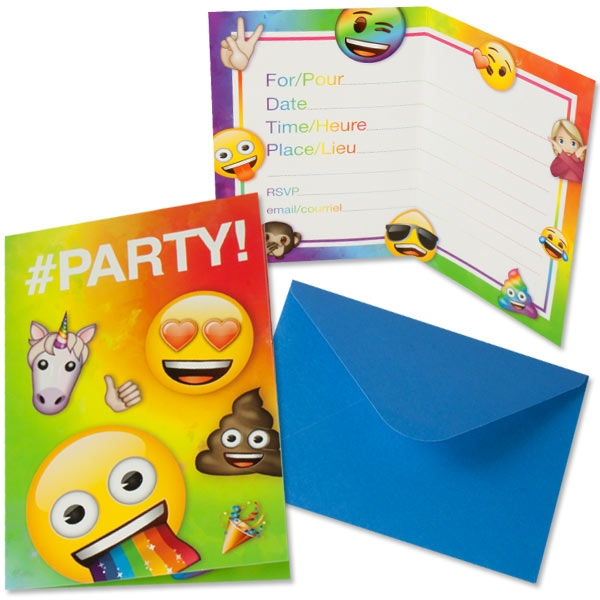 Emoji Rainbow Fun Einladungen, 8 Stk, 19,7cm x 13,7cm