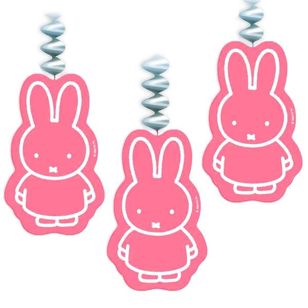 Miffy Spiralen in Rosa mit dem beliebten Häschen, 3er Pack, Pappe