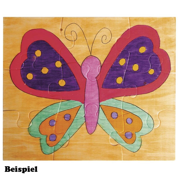 Schmetterling Holz-Puzzle, 15cm x 17,5cm, zum Bemalen, Butterfly-Motiv