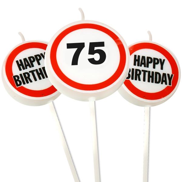 Zahlenkerzen Set Zahl 75 Happy Birthday für 75. Geburtstag, 3er Pack