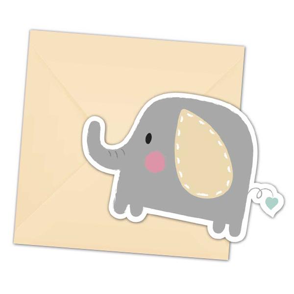 """Einladungen """"Baby Elefant"""" inkl. Umschläge, 6er Pack"""